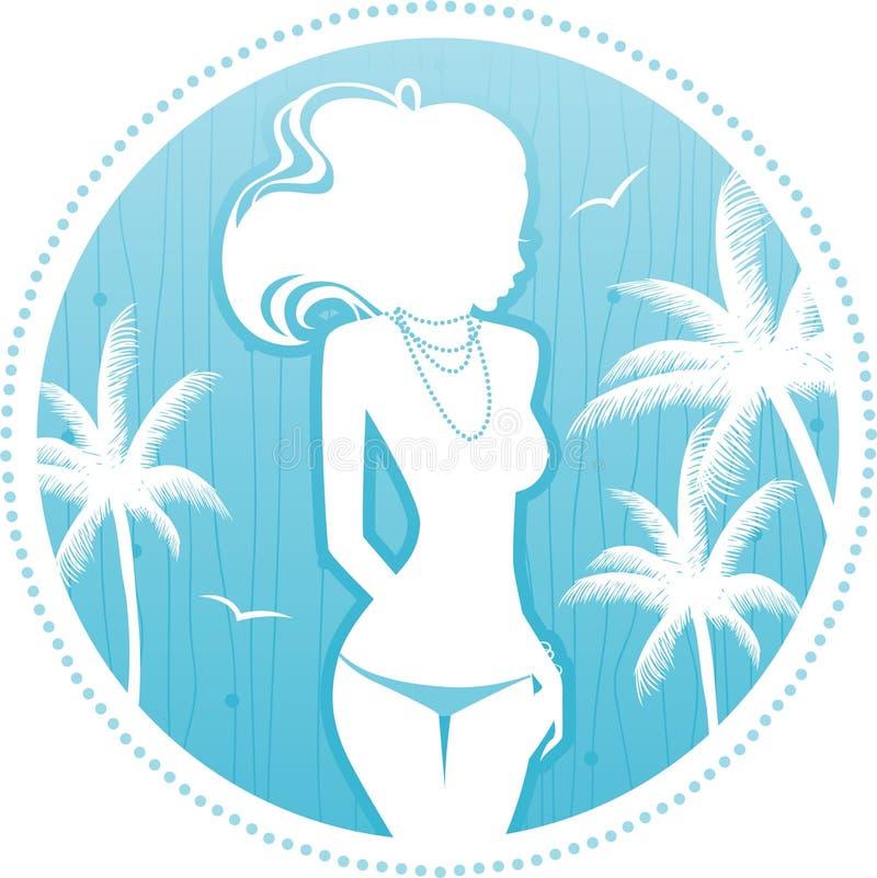 Backgraund do verão com silhueta das mulheres ilustração stock