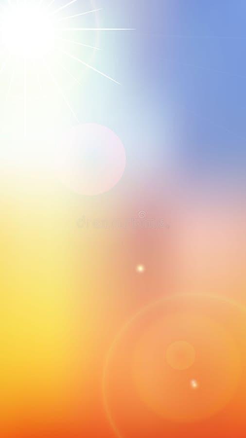 Backgraund do verão com silhueta do sol ilustração royalty free