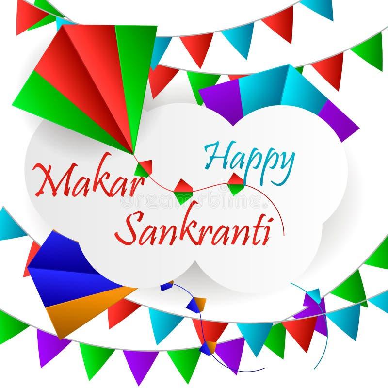 Backgraund feliz de Makar Sankranti con la cometa colorida fotos de archivo libres de regalías