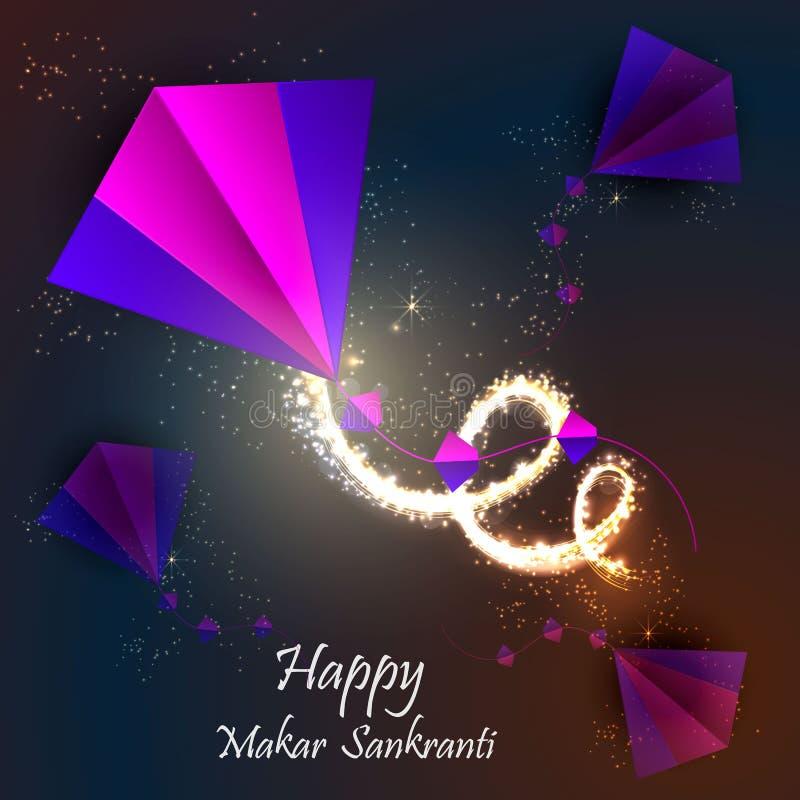 Backgraund feliz de Makar Sankranti con la cometa colorida fotografía de archivo libre de regalías