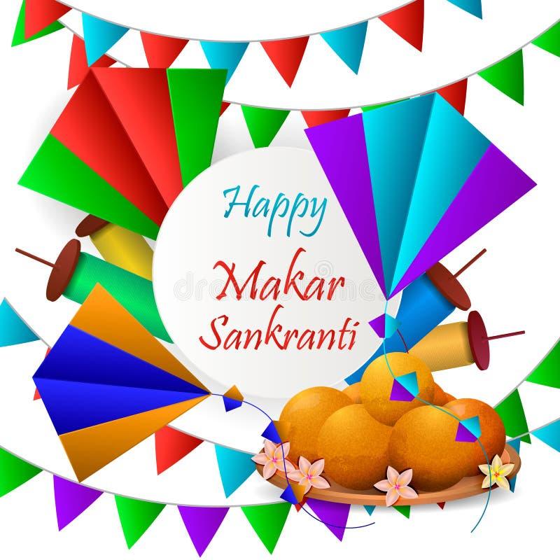 Backgraund feliz de Makar Sankranti con la cometa colorida fotos de archivo