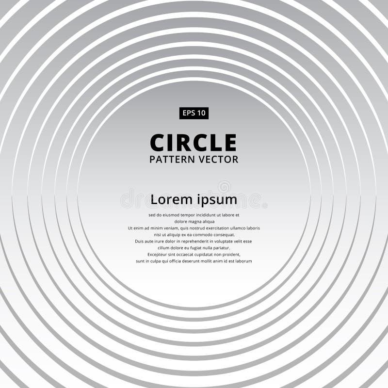Backgro bianco e grigio del cerchio geometrico astratto del modello di sovrapposizione illustrazione di stock