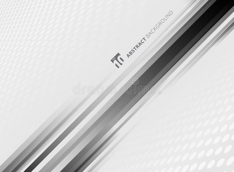 Backgro branco e cinzento do teste padrão abstrato do círculo da cor da perspectiva ilustração stock