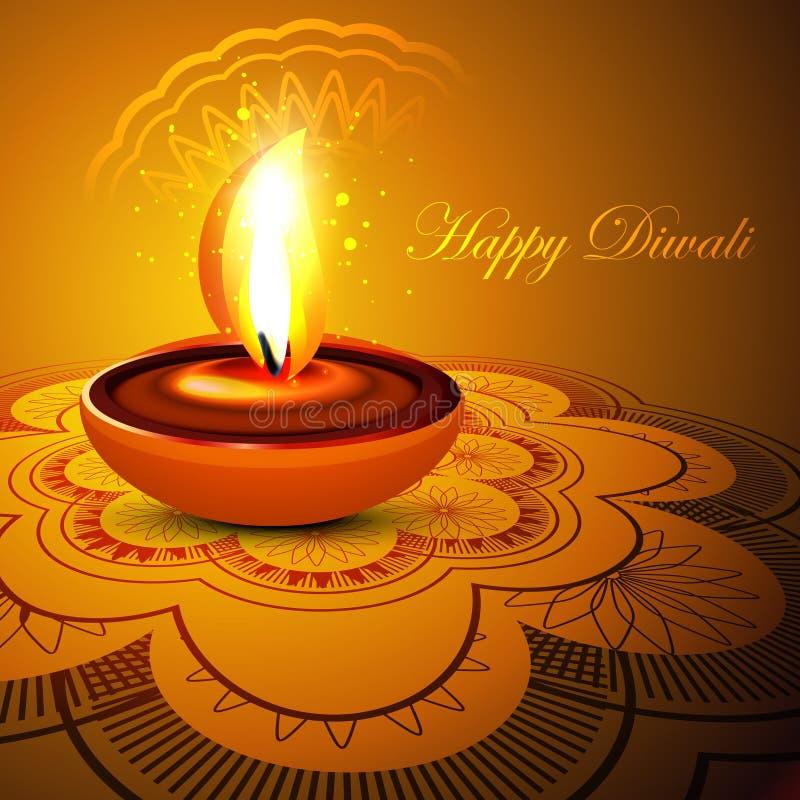Backgro colorido del festival del diwali feliz elegante hermoso del rangoli ilustración del vector