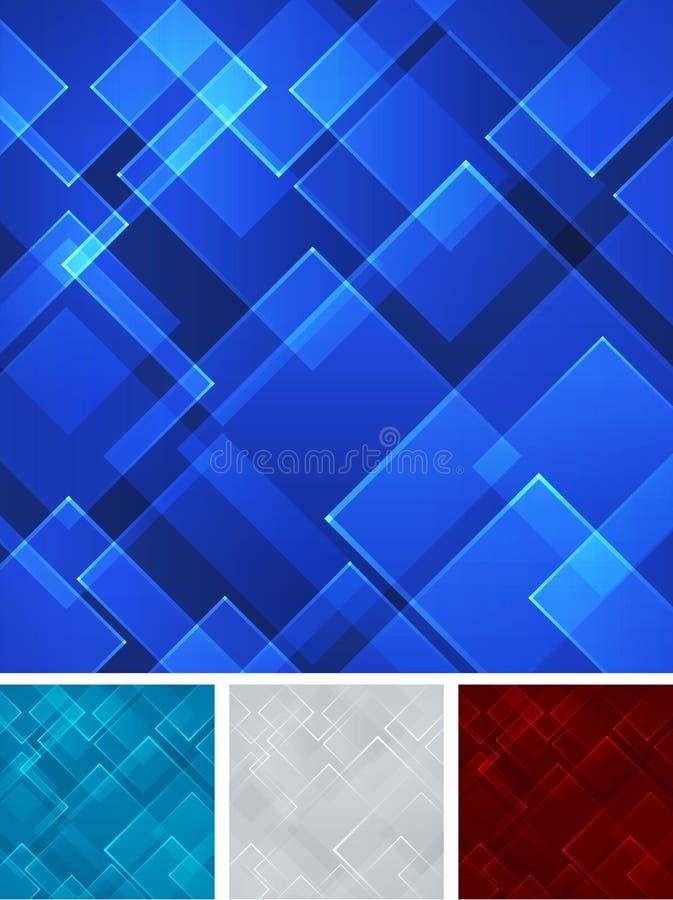 Backgro cuadrado gris abstracto determinado del laser de la tecnología de la forma del rojo azul ilustración del vector