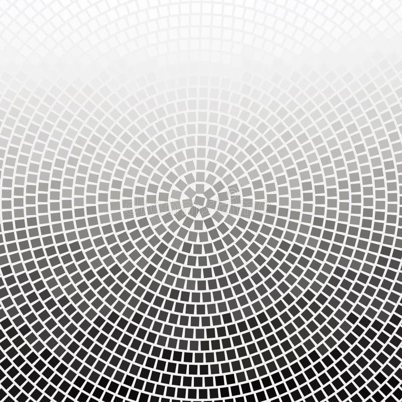 Backgro redondo do monochrome do inclinação do círculo espiral quadrado da reticulação ilustração do vetor