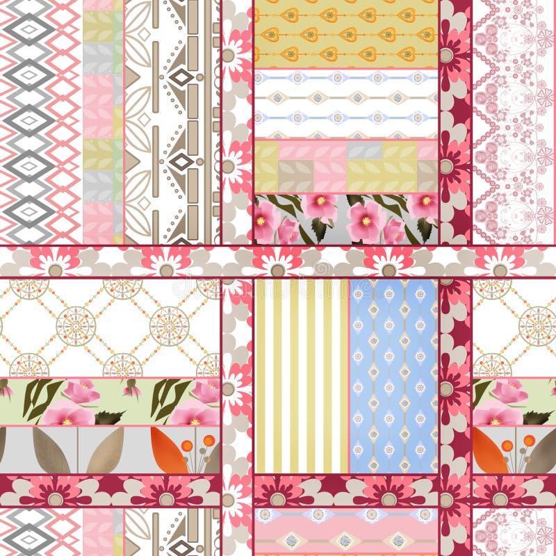 Backgro retro do teste padrão do projeto de matéria têxtil sem emenda abstrata dos retalhos ilustração stock