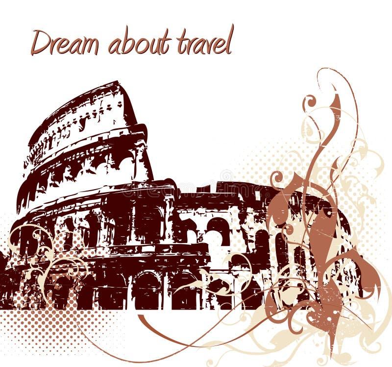 Backgrond de Grunge com Colosseum ilustração stock
