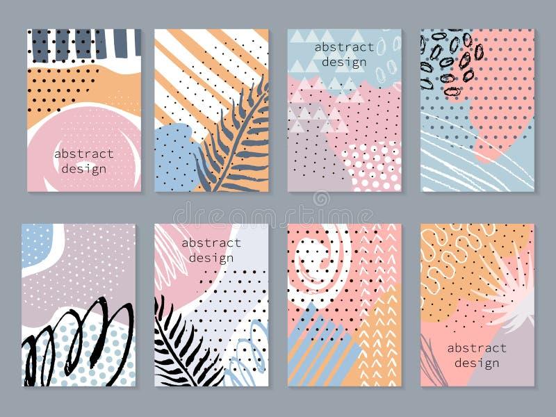 Backgronds variopinti astratti messi I modelli disegnati a mano per la carta, l'aletta di filatoio e l'invito progettano royalty illustrazione gratis