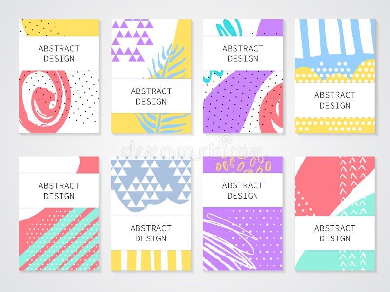 Backgronds variopinti astratti messi I modelli disegnati a mano per la carta, l'aletta di filatoio e l'invito progettano illustrazione vettoriale