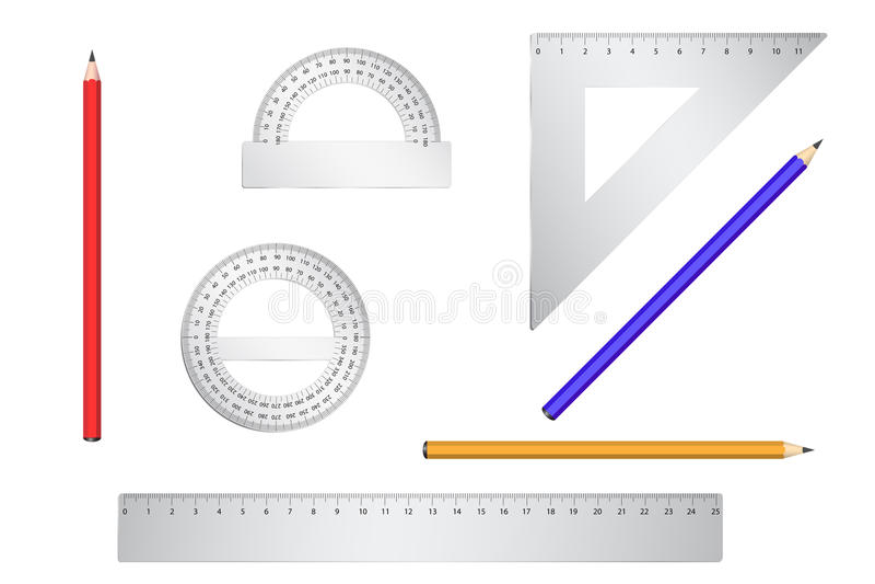 backgrou калибрует белизну школы 3 карандаша иллюстрация вектора