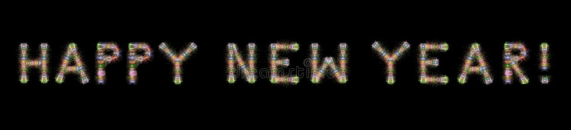 Backgrou счастливых фейерверков текста Нового Года красочных горизонтальное черное стоковое фото rf