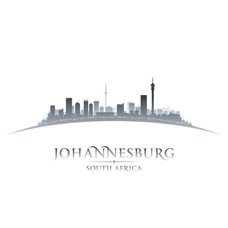 Backgrou de blanc de silhouette d'horizon de ville de Johannesburg Afrique du Sud illustration stock