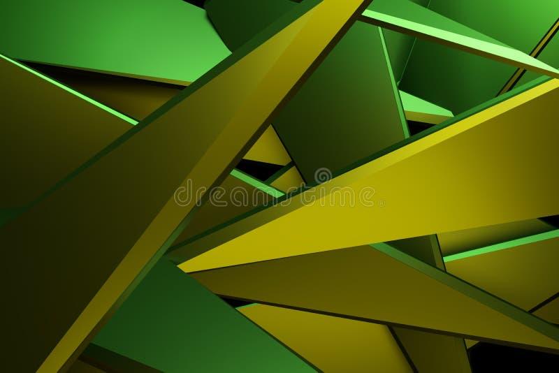 Backgrou de technologie de rendu de l'abrégé sur 3d couleur jaune et verte illustration stock