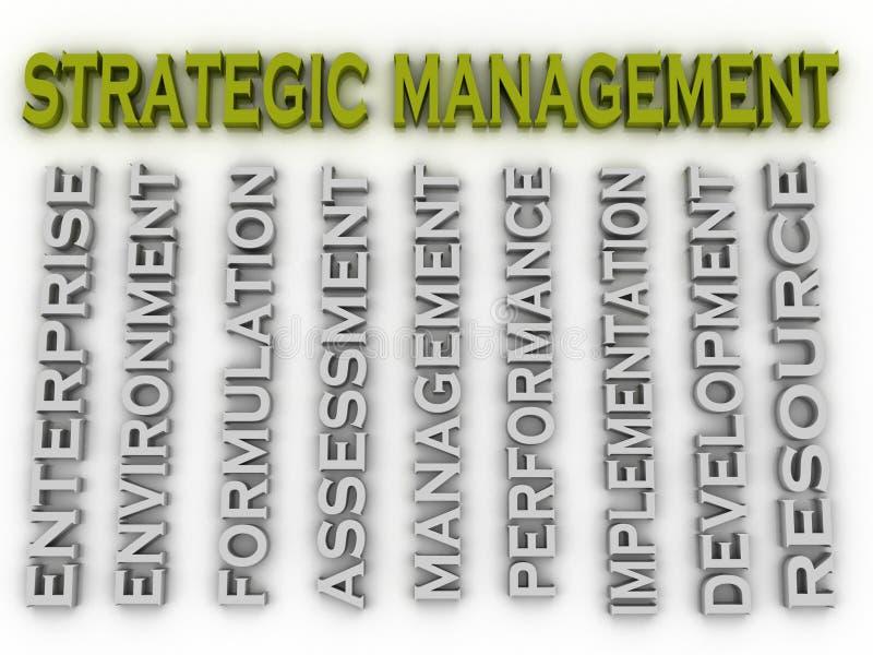 backgrou estratégico da nuvem da palavra do conceito das edições de gestão da imagem 3d ilustração do vetor