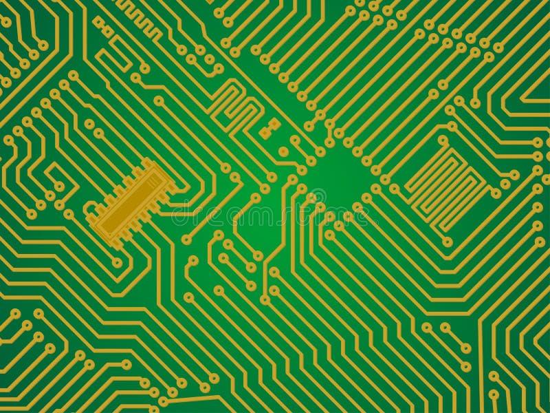 Backgrou verde de alta tecnología del vector de la electrónica de la industria ilustración del vector