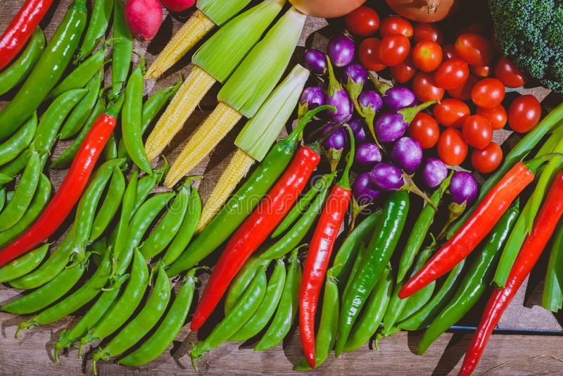 Backgroud of fresh food tasty and healthy varis vegetables are on the wooden table royalty free stock images