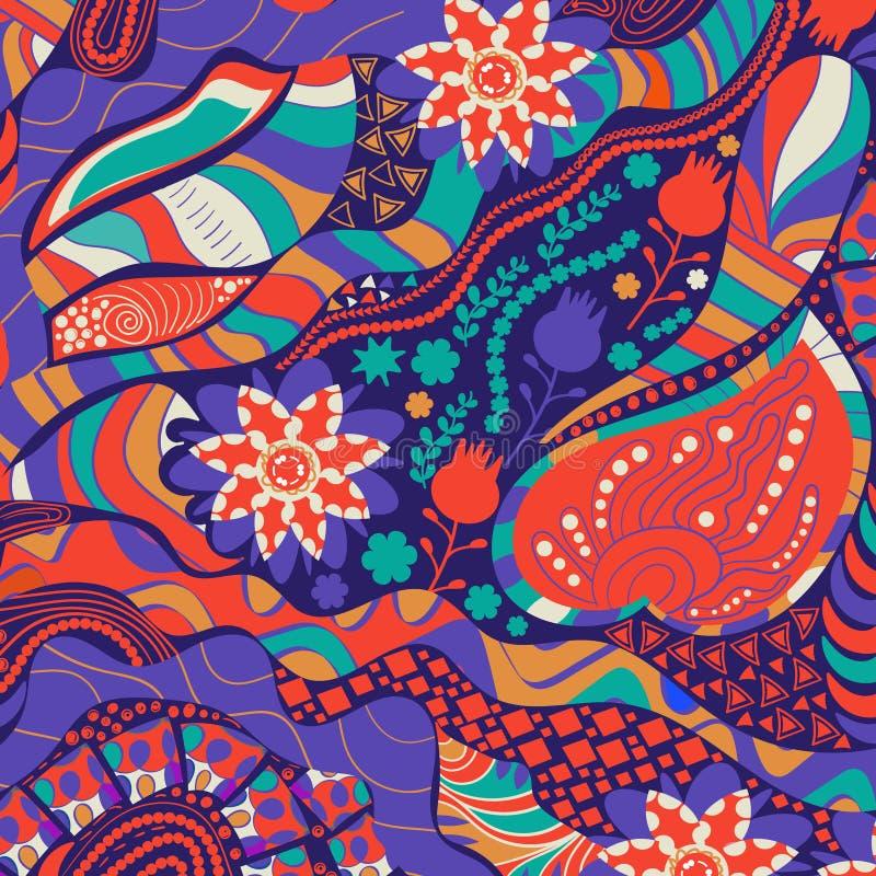 Backgroud psicodélico abstracto colorido del vector Estilo del hippy, los años 60 Contexto impar para el diseño foto de archivo