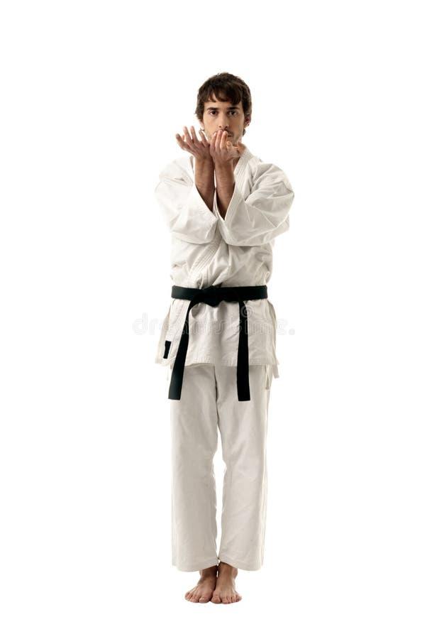 Backgroun bianco isolato del combattente maschio di karatè giovane immagini stock libere da diritti