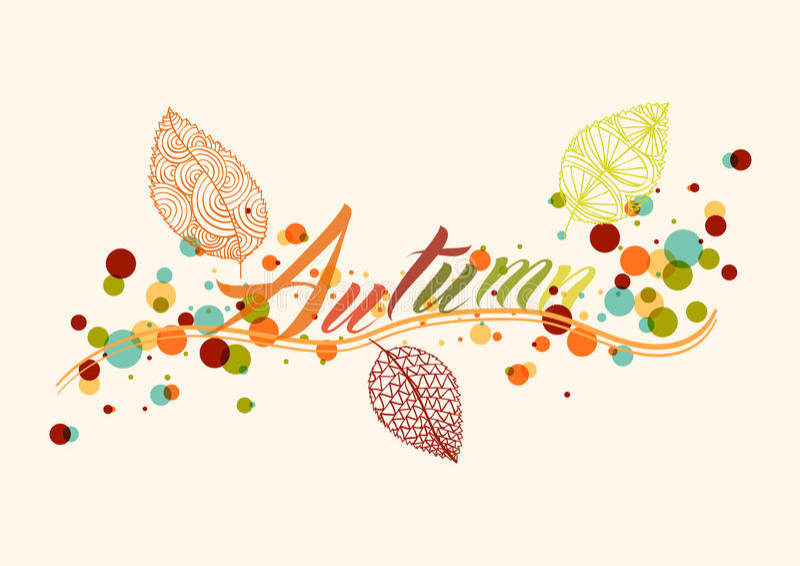 Backgroun de feuille d'automne et de composition en bulles illustration libre de droits