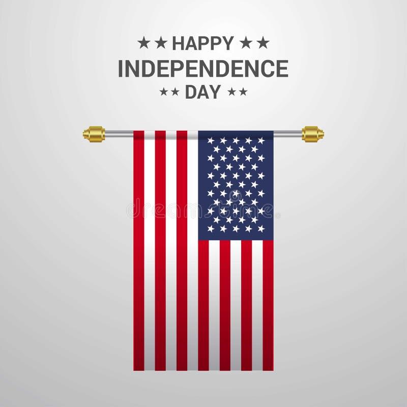 Backgroun de suspensão da bandeira do Dia da Independência do Estados Unidos da América foto de stock