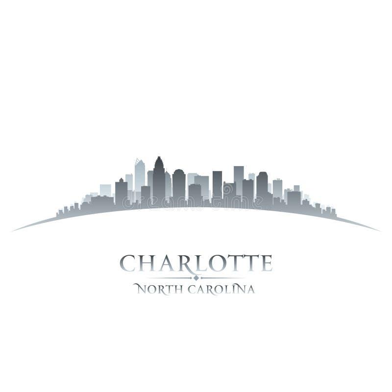 Backgroun del blanco de la silueta del horizonte de la ciudad de Charlotte North Carolina libre illustration