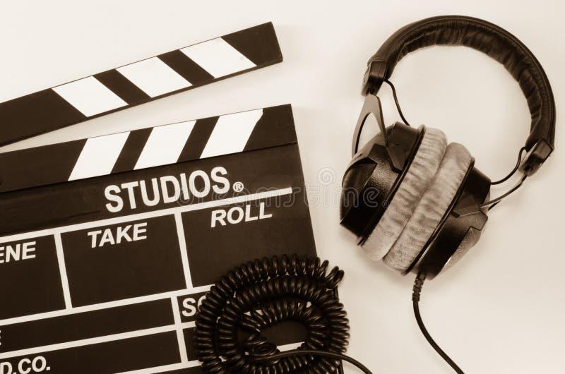 Backgroun del blanco del auricular de la película de la pizarra fotografía de archivo