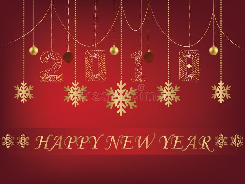 Backgroun del rojo de la tarjeta de felicitación de la Feliz Año Nuevo 2018 stock de ilustración