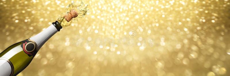 Backgroun dorato di esplosione del champagne del nuovo anno fotografia stock
