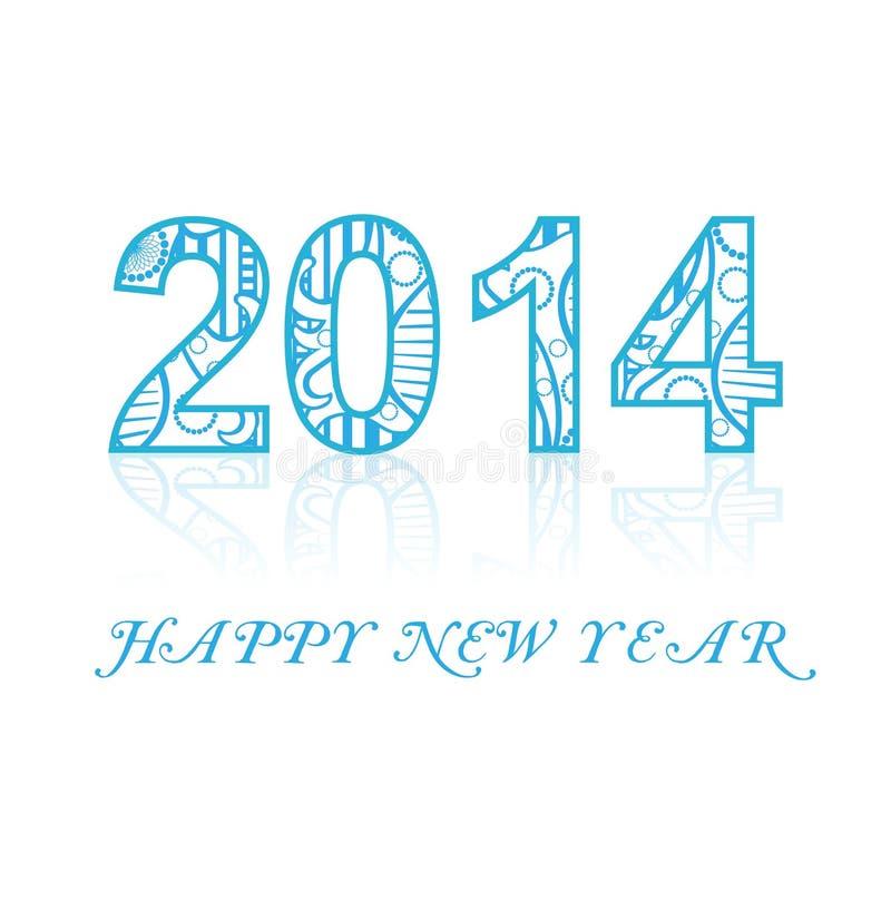 Backgroun elegante colorido 2014 de la reflexión de la Feliz Año Nuevo ilustración del vector