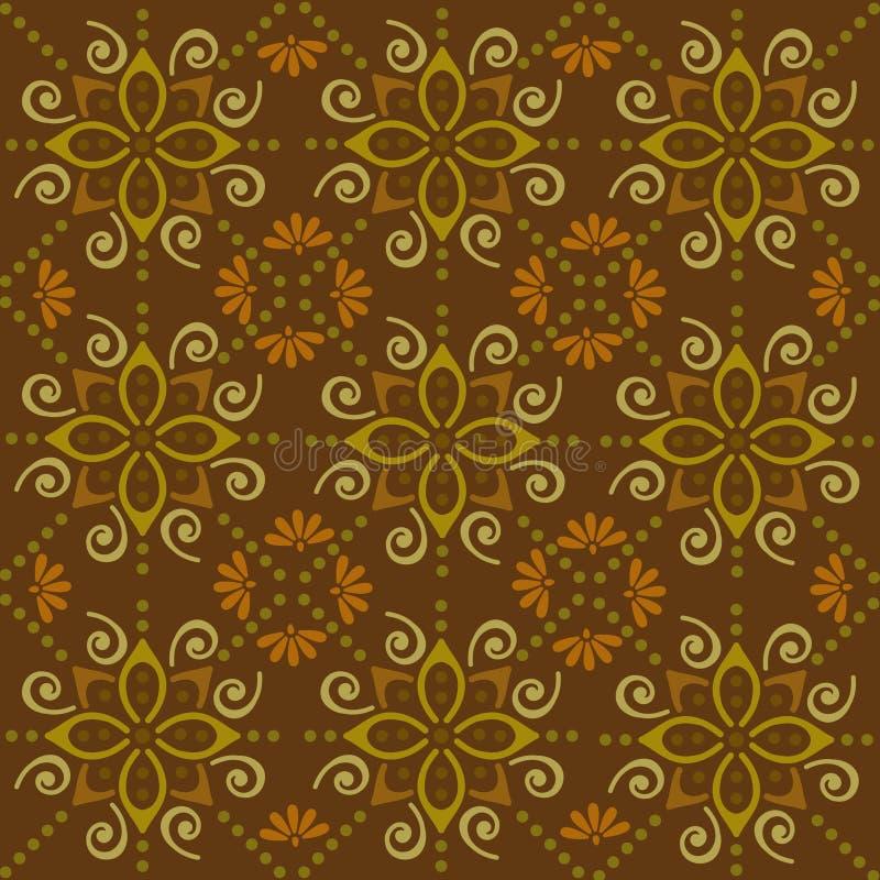 Backgroun folclo'rico do marrom do ornamento do Batik [convertido ilustração stock