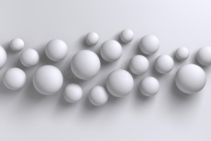 Backgroun geométrico das esferas polígono brilhante abstrato do branco 3D do baixo ilustração royalty free
