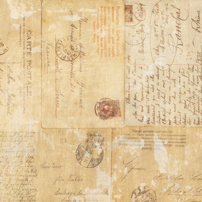 Backgroun Grungy del collage di cose effimere della cartolina dell'annata fotografia stock libera da diritti
