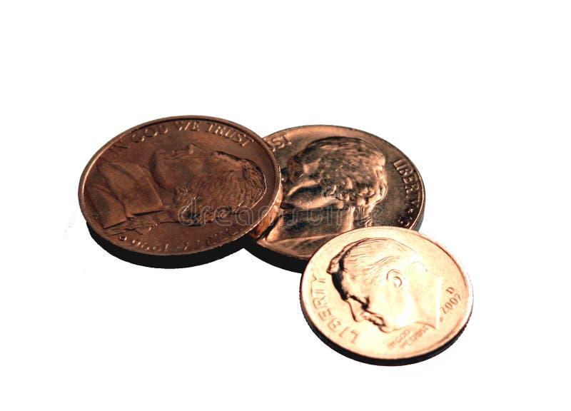 Backgroun Monety Odizolowanych Dimes Nickels Białych Obraz Stock