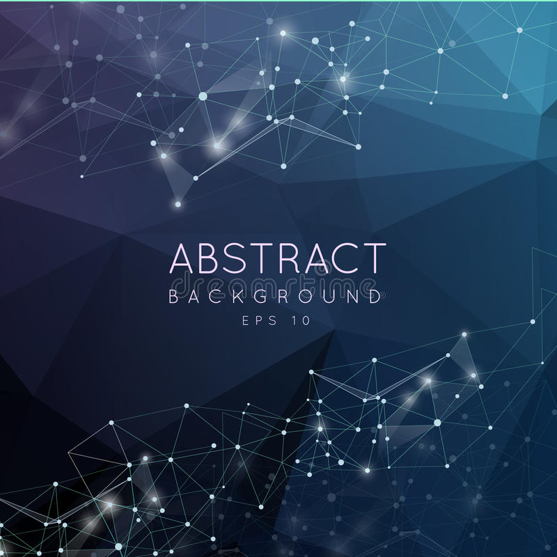 Backgroun poligonal abstracto El diseño polivinílico bajo con la conexión hace stock de ilustración