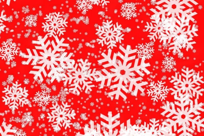 Backgroun rojo con los copos de nieve libre illustration