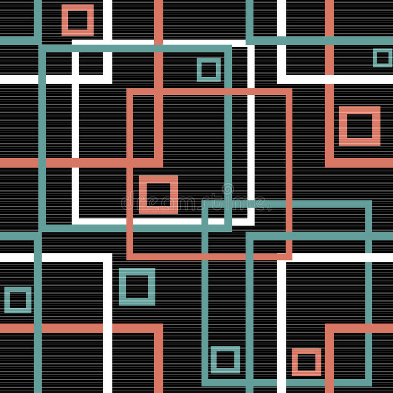 Backgroun sem emenda do preto da textura do teste padrão dos quadrados modernos abstratos ilustração stock