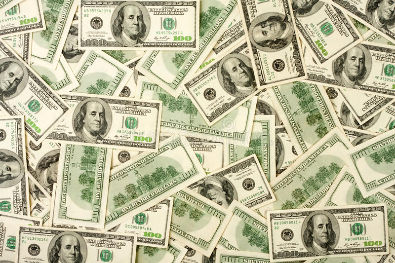 Background of $100 banknotes