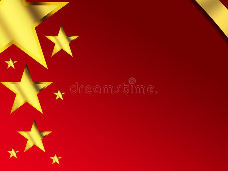 Background. Red background with gold stars and ribbon, space to insert text or design stock illustration