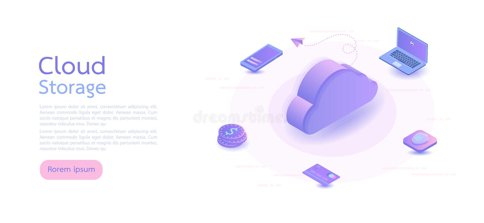 Isometric digital technology. Big data, cloud information storage, global transferring technology. web design, banner and presenta vector illustration