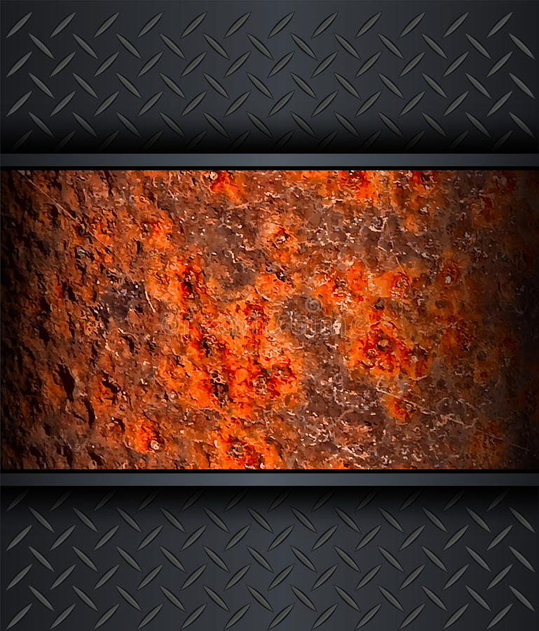 Background. With old rusted metal texture royalty free illustration