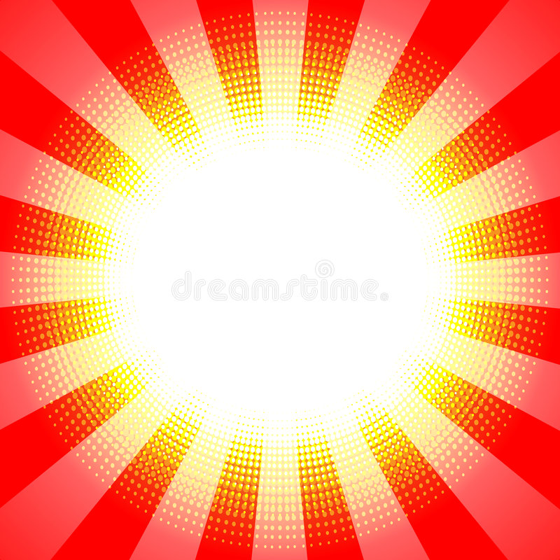 Background. Red retro background with rays - vector royalty free illustration