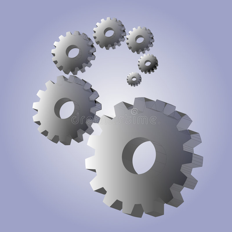 Background with 3D gears stock illustration