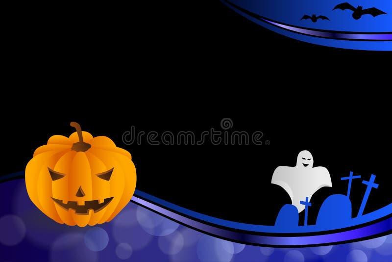 Background abstract blue black Halloween orange pumpkin bat ghost frame illustration stock illustration