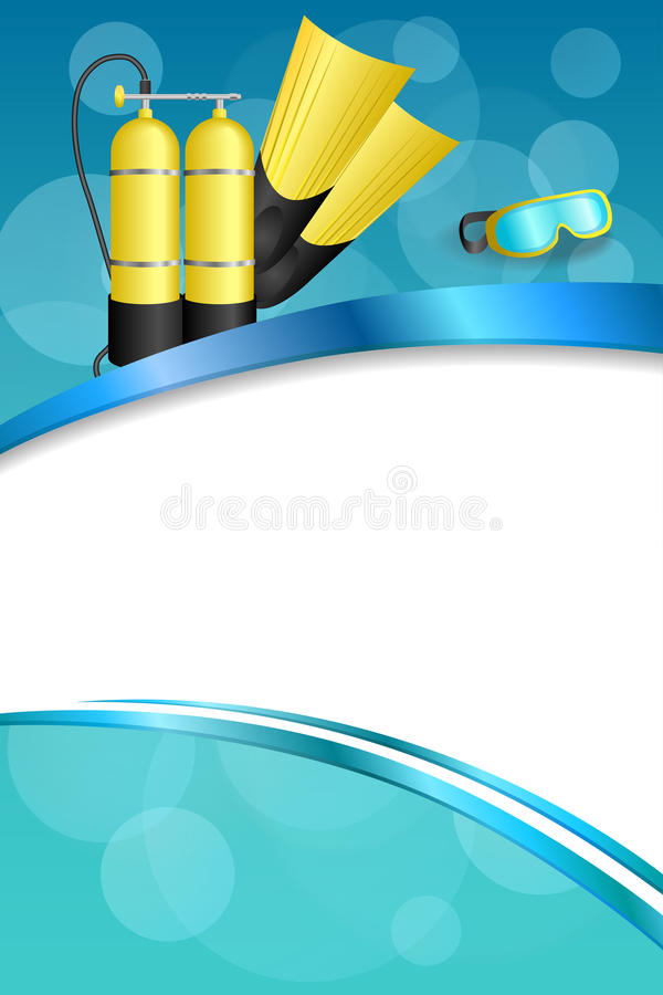 Free Background Abstract Blue Diving Sport Yellow Aqualung Flippers Mask Frame Vertical Ribbon Illustration Royalty Free Stock Photo - 56345165
