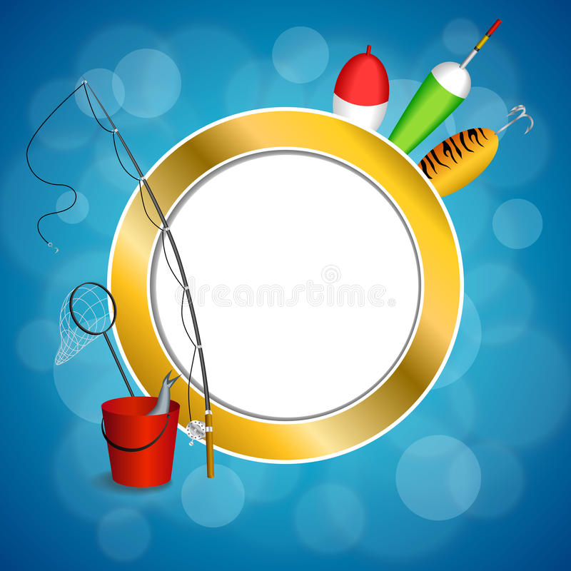 Background abstract blue white fishing rod red bucket fish net float spoon yellow green frame circle illustration. Vector stock illustration