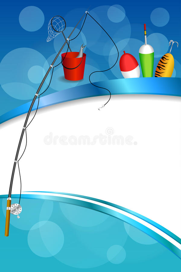 Background abstract blue white fishing rod red bucket fish net float spoon yellow green frame vertical illustration. Vector royalty free illustration