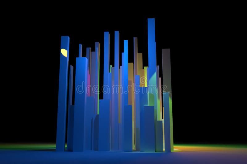 Background abstract colorful lighting, pillar block or shapre for design, graphic resource. 3D rendering. 3D rendering. Colorful lighting, block or shapre royalty free stock photo