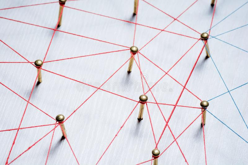 Background. Abstract concept of network, social media, internet, teamwork, communication. Nails linked together by. Threads royalty free stock photography
