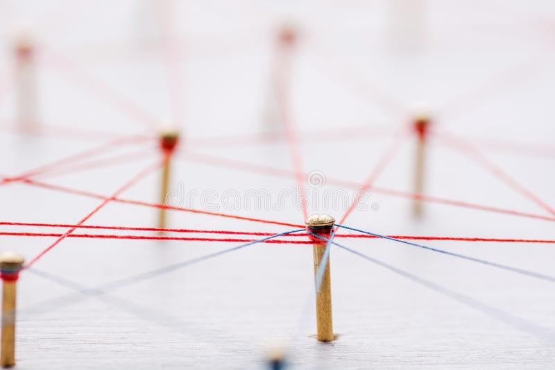 Background. Abstract concept of network, social media, internet, teamwork, communication. Nails linked together by royalty free stock photography